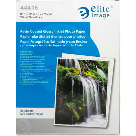 "Elite Image Glossy White Photo Paper 8-1/2""  x 11"" 10.6 Mil 50 Pack"