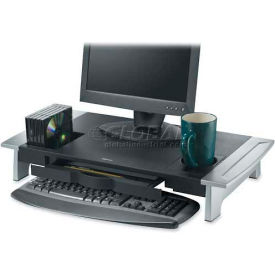 "Fellowes® Premium Monitor Riser, 8031001, Adjust Height, 27"" X 14-1/16"" X 4-1/10"", Black/Silver"
