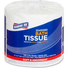 """Genuine Joe Standard Bath Tissue Rolls 2 Ply 4"""" x 4"""" 400 Sheets/Roll 80 Rolls/Case - GJO2540080"""