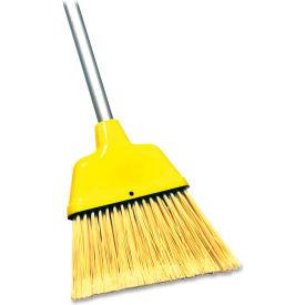 "Genuine Joe 9"" Wide Angle Broom w/ 47"" Steel Handle, Yellow - GJO58562"