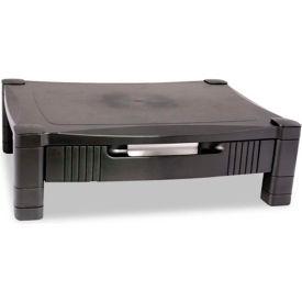 Kantek Monitor Stand, MS420, W/Removable Drawer, Adjust. Height, Black