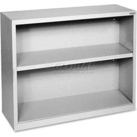 "Lorell Fortress Series 2-Shelf Bookcase, LLR41280, 13""W x 34-1/2""D x 30""H, Light Gray"