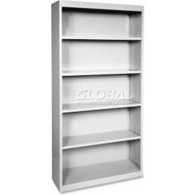 "Lorell Fortress Series 5-Shelf Bookcase, LLR41289, 13""W x 34-1/2""D x 72""H, Light Gray"