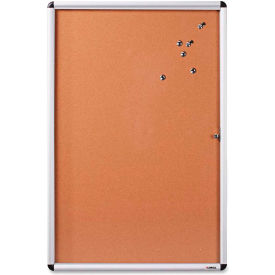 "Lorell Enclosed Cork Bulletin Board with Silver Frame, 24""W x 36""H"
