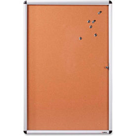 """Lorell Enclosed Cork Bulletin Board with Silver Frame, 48""""W x 36""""H"""