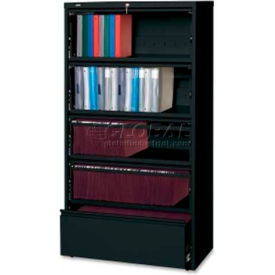 "Lorell 5-Drawer Lateral File, LLR43513, 36""W, Black"