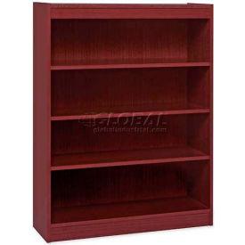 "Lorell® 4-Shelf Panel End Hardwood Veneer Bookcase, 36""W x 12""D x 48""H, Mahogany"