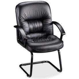 """Lorell® Tufted Leather Guest Chair, 25-3/4""""W x 28-1/4""""D x 40-1/4""""H, Black Leather Seat"""