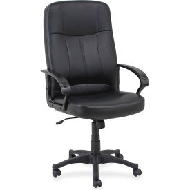 "Lorell® Chadwick Executive Leather High-Back Chair, 26""W x 29-1/2""D x 49-3/4""H, Black"