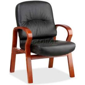 "Lorell® Woodbridge Leather Guest Chair, 26""W x 29""D x 37-1/2""H, Black/Cherry"