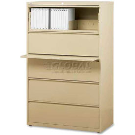 """Lorell® 5-Drawer Lateral File Cabinet, 42""""W x 18-5/8""""D x 68""""H, Putty"""