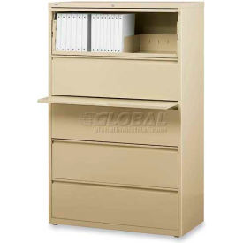 """Lorell® 5-Drawer Lateral File Cabinet, 36""""W x 18-5/8""""D x 68""""H, Putty"""