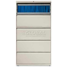 "Lorell® 5-Drawer Lateral File Cabinet, 36""W x 18-5/8""D x 68""H, Gray"