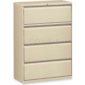 "Lorell® 4-Drawer Lateral File Cabinet, 36""W x 18-5/8""D x 52-1/2""H, Putty"