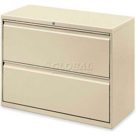 """Lorell® 2-Drawer Lateral File Cabinet, 36""""W x 18-5/8""""D x 28""""H, Putty"""