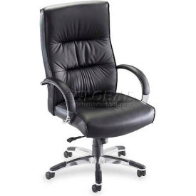 "Lorell® Bridgemill Executive Leather High-Back Chair, 25-1/2""W x 28""D x 47-3/4""H, Black"