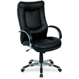"Lorell® Stonebridge Executive Leather High-Back Chair, 26-1/2""W x 28-1/2""D x 48""H, Black"