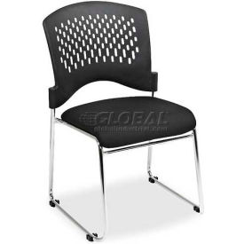 "Lorell® Stackable Chair, 24""W x 23-1/2""D x 23-1/2""H, Black Fabric Seat/Plastic Back, 4/Carton"