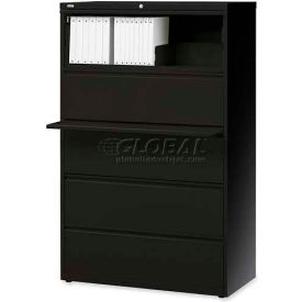 "Lorell® 5-Drawer Lateral File Cabinet, 36""W x 18-5/8""D x 68""H, Black"
