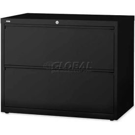 """Lorell® 2-Drawer Lateral File Cabinet, 42""""W x 18-5/8""""D x 28""""H, Black"""