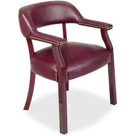 "Lorell® Traditional Captain Side Chair, 24""W x 25""D x 30-3/4""H, Burgundy Vinyl"
