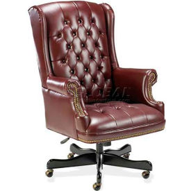 "Lorell® Traditional Executive Swivel Chair, 30""W x 32""D x 46""H, Oxblood Vinyl Seat"