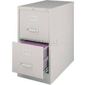 """Lorell® 2-Drawer Heavy Duty Vertical File Cabinet, 15""""W x 25""""D x 28-3/8""""H, Putty"""