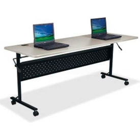 "Lorell Flipper Training Table - 60""L x 24""W x 29-1/2""H, Light Gray"