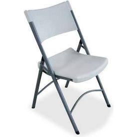 "Lorell® Heavy Duty Tubular Folding Chair, 18-1/2""W x 22""D x 33""H, Platinum, 4/Carton"