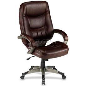 "Lorell® Westlake Executive Leather High-Back Chair, 26-1/2""W x 28-1/2""D x 46-1/2""H, Saddle"