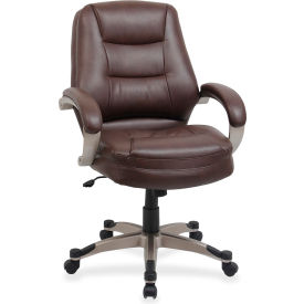 "Lorell® Westlake Managerial Leather Mid-Back Chair, 26-1/2""W x 28-1/2""D x 43""H, Saddle"