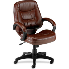"Lorell® Westlake Managerial Leather Mid-Back Chair, 26-1/2""W x 28-1/2""D x 43""H, Brown"