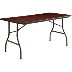 "Lorell® Economy Melamine Top Folding Table, 60""L x 30""W x 29""H, Mahogany"