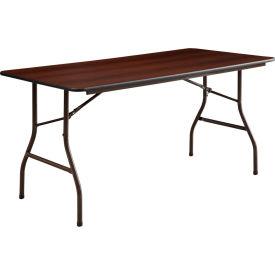"Lorell® Economy Melamine Top Folding Table, 60""L x 30""W x 29""H, Mahogany"