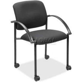 Lorell Upholstered Stacking Guest Chair, LLR65965, Fixed Arms, Black