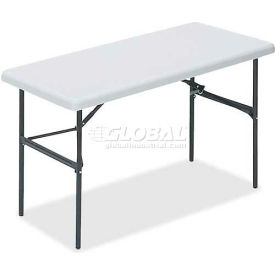 "Lorell® Ultra Light Banquet Folding Table, 48""L x 24""W x 29""H, Platinum"
