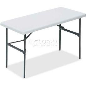 "Lorell® Ultra Light Banquet Folding Table, 48""L x 24""W x 29""H, Platinum"
