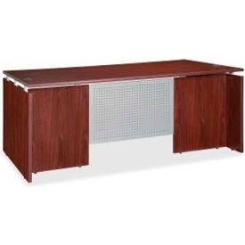 "Lorell® Executive Wood Desk - 66""W x 30""D x 29-1/2""H - Mahogany - Ascent Series"