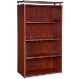"Lorell® 4-Shelf Bookcase - 36""W x 12-1/2""D x 48""H - Mahogany - Ascent Series"
