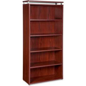 "Lorell® 5-Shelf Bookcase - 36""W x 12-1/2""D x 68-3/4""H - Mahogany - Ascent Series"