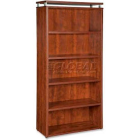 "Lorell® 5-Shelf Bookcase - 36""W x 12-1/2""D x 68-3/4""H - Cherry - Ascent Series"