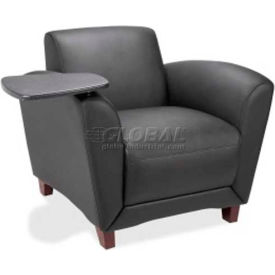 Lorell Reception Chair with Tablet Arm - Bonded Leather - Black