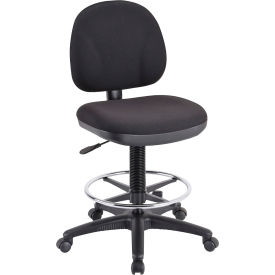 "Lorell® Millenia Pneumatic Adjustable Task Stool, 24""W x 24""D x 50-1/2""H, Black"