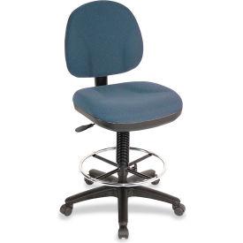 """Lorell® Millenia Pneumatic Adjustable Task Stool, 24""""W x 24""""D x 50-1/2""""H, Blue"""