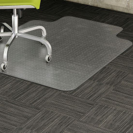 """Lorell Office Chair Mat for Carpet -  48""""L x 36""""W with 10""""L x 19""""W Lip - Straight Edge - Clear"""