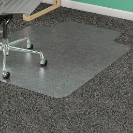 """Lorell Office Chair Mat for Carpet - 36""""W x 48""""L with 10"""" x 19"""" Lip - Straight Edge - Clear"""