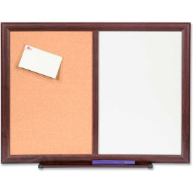 """Lorell Dry-Erase/Bulletin Combination Board with Mahogany Frame, 24""""W x 18""""H"""