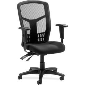 "Lorell® High-Back Executive Chair, 28-1/2""W x 28-1/2""D x 45""H, Black Fabric Seat/Mesh Back"