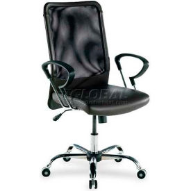 """Lorell® High-Back Executive Mesh Chair, 24-3/4""""W x 25-1/2""""D x 42-1/2""""H, Black Leather Seat"""