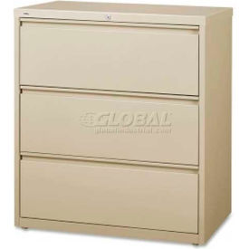 """Lorell High Quality 3-Drawer Lateral File, LLR88027, 36""""W x 18-5/8""""D x 40-1/4""""H, Putty"""